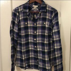 J Crew Blue and Purple Cotton Flannel Shirt
